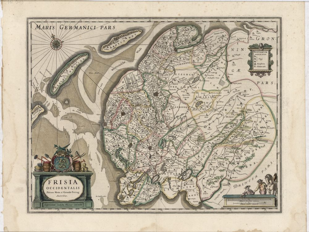 Landkaart van de provincie Friesland