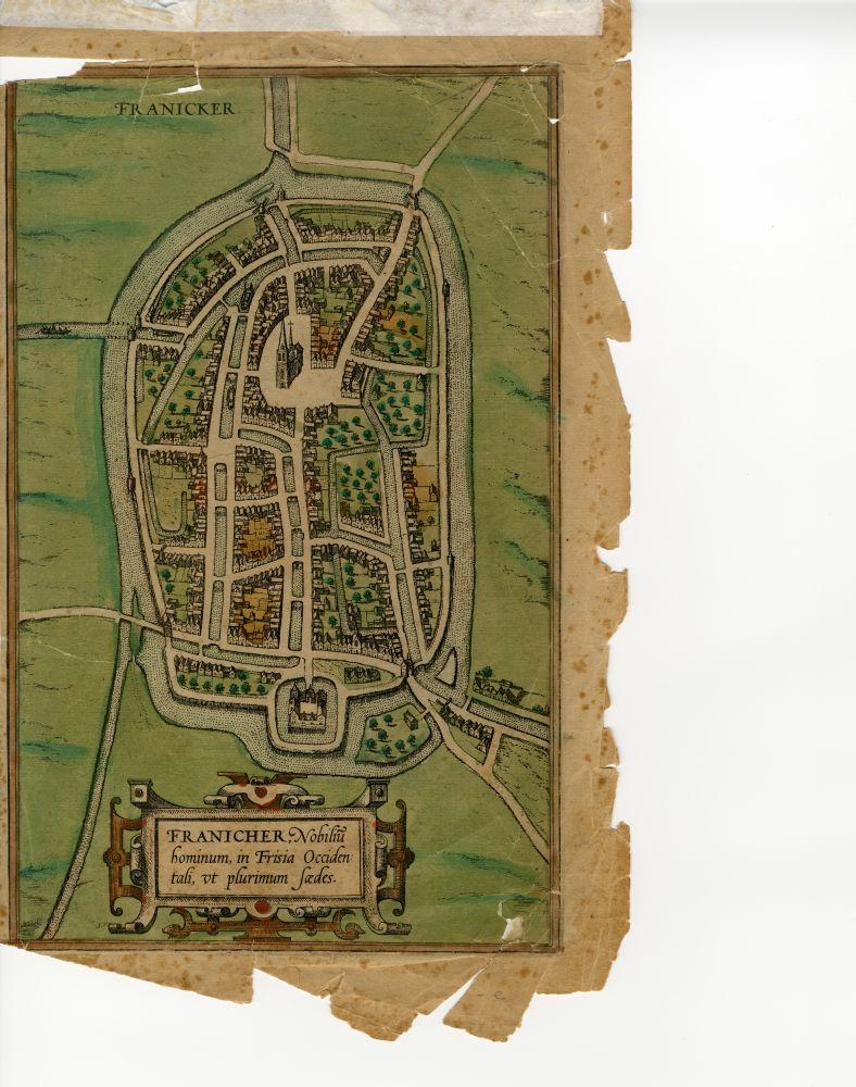 Gravure van een plattegrond van Franeker door Braun en Hogenberg