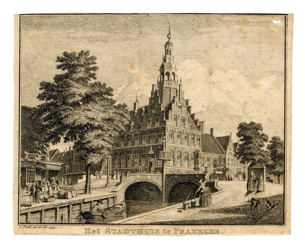 Gravure van het stadhuis in Franeker door C. Pronk