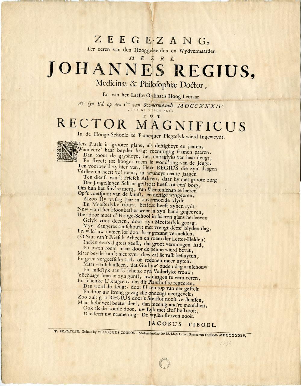 Zegezang voor Johannes Regius