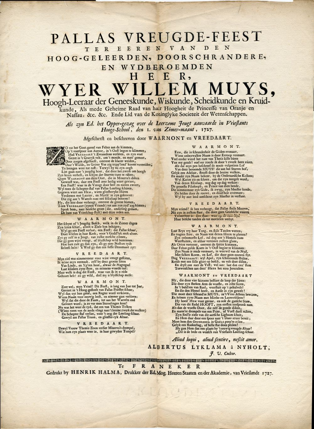 Gedicht voor Wijer Willem Muys