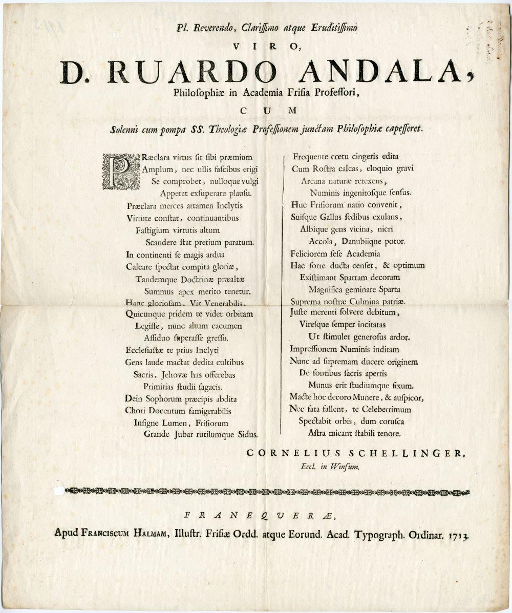 Latijns gedicht door Cornelius Schellinger