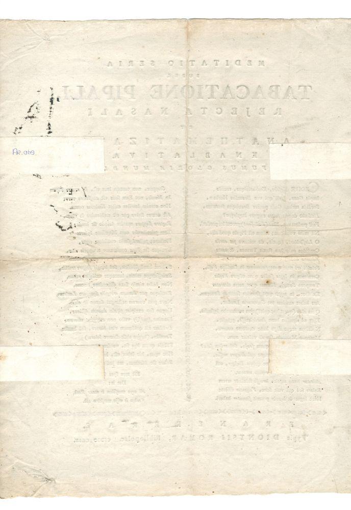 Pamflet met een Latijnse tekst getiteld 'Meditatio seria super tabacatione pipali, rejecta nasali et anathematizata knablativa fumus gloria mundi.'