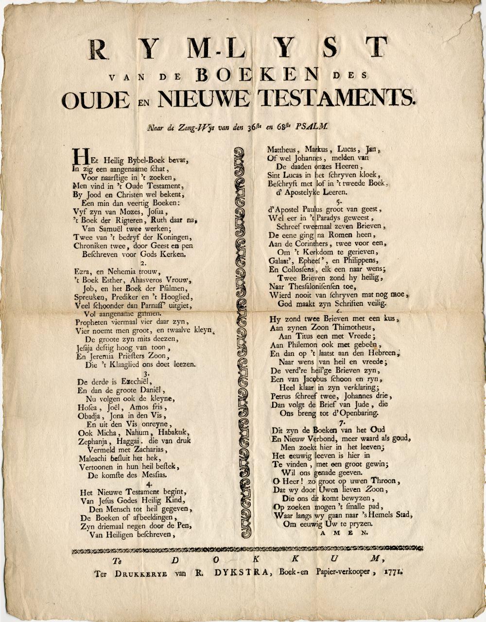 Rijmlijst van het Oude en Nieuwe Testament