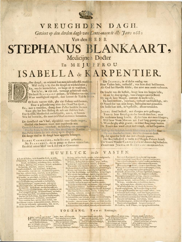 Huwelijksgedicht uit 1682