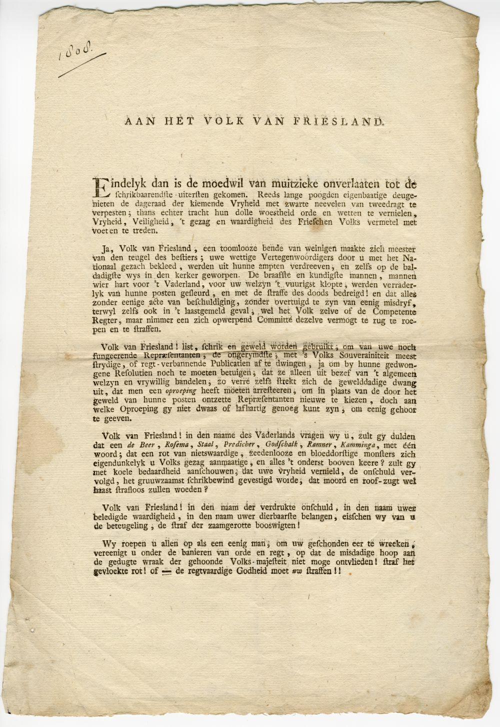 'Aan het volk van Friesland'