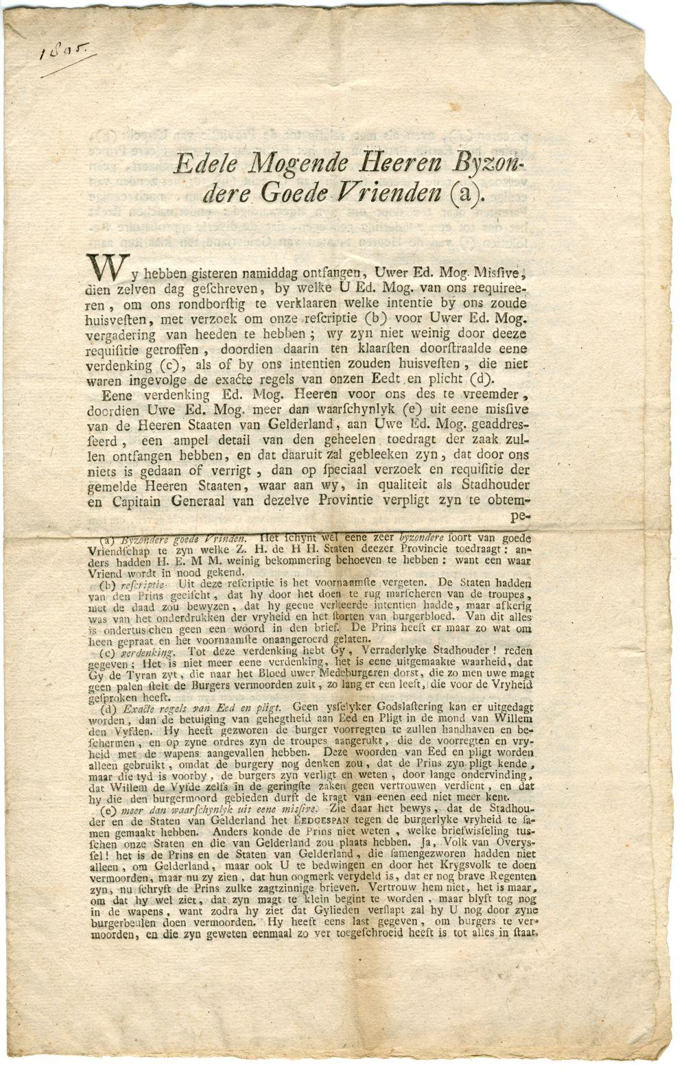 'Edele Mogende Heeren Bijzondere Goede Vrienden (a) ondertekend W. Prins van Oranje. Loo den 6 september 1786'