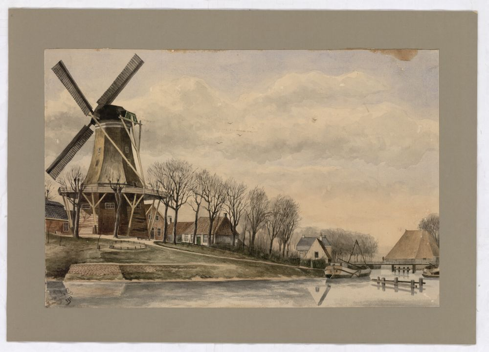 Aquarel van de Molenpolle te Franeker