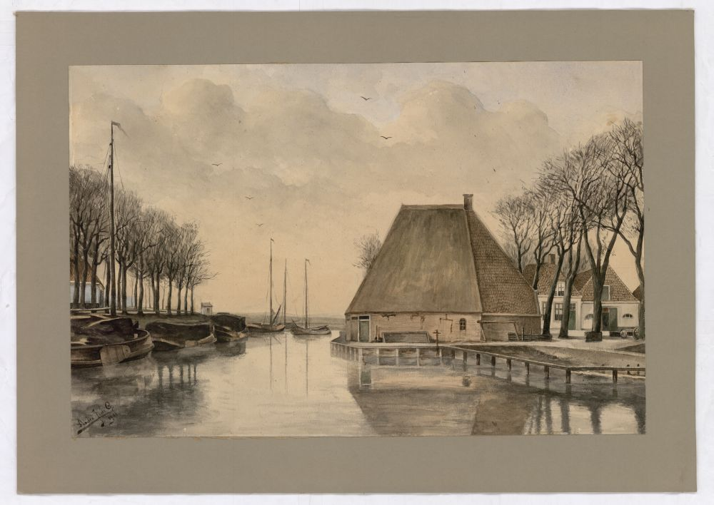 Aquarel van de Turfkade te Franeker