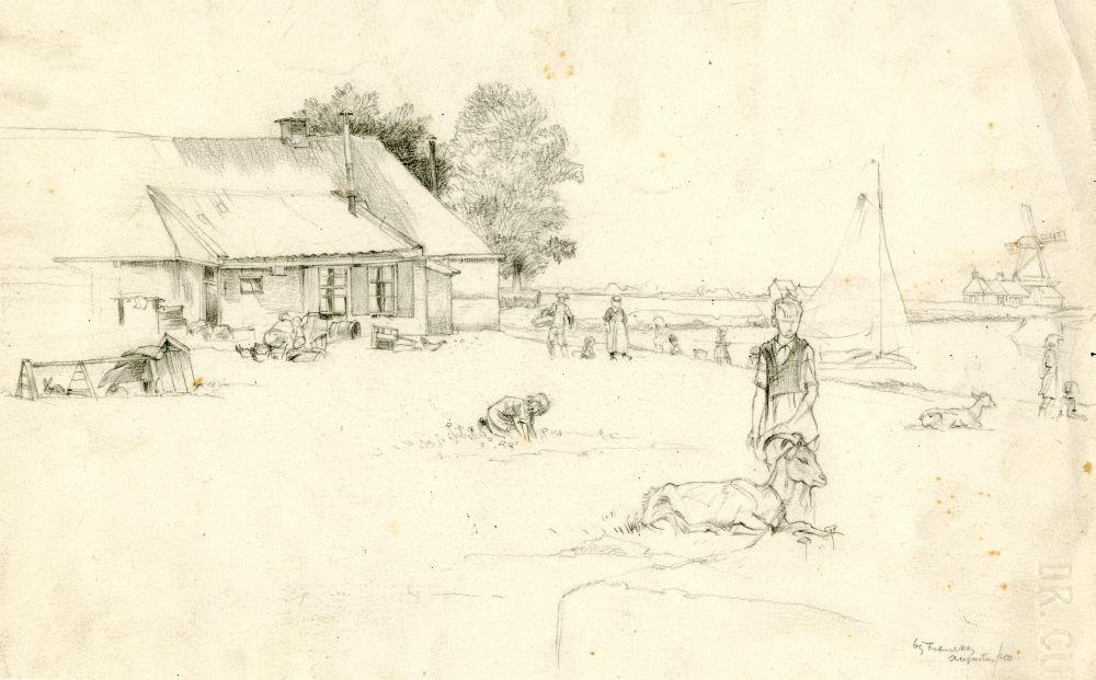 Tekening met potlood van een huis aan de Harlinger Trekvaart bij Franeker door Sjoerd Kuperus