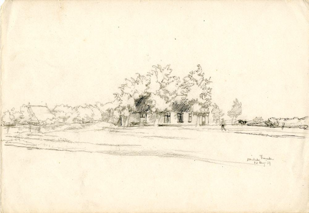 Tekening met potlood en inkt van een landschap bij Franeker door Sjoerd Kuperus
