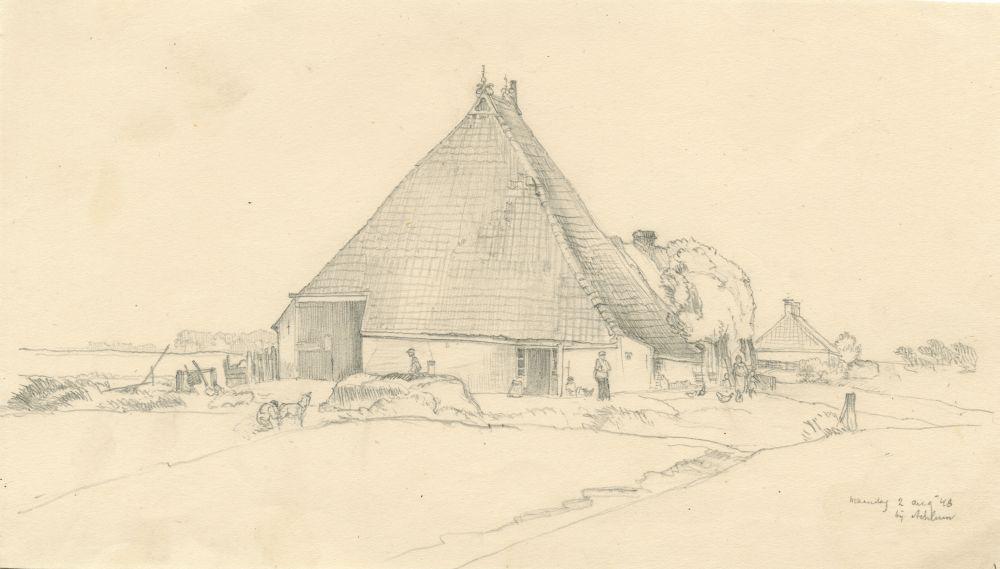 Tekening met potlood van een boerderij bij Achlum door Sjoerd Kuperus