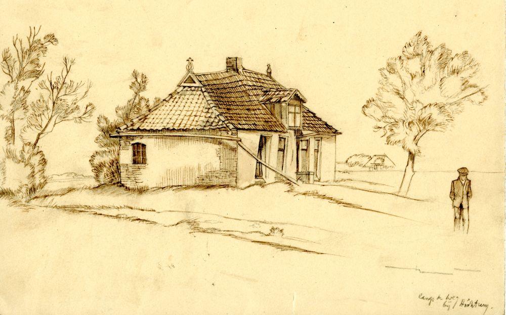 Tekening met potlood en bruine inkt van een huisje langs de weg bij Hichtum door Sjoerd Kuperus