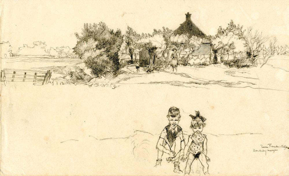 Tekening met potlood van een landschap tussen Franeker en Hitzum door Sjoerd Kuperus