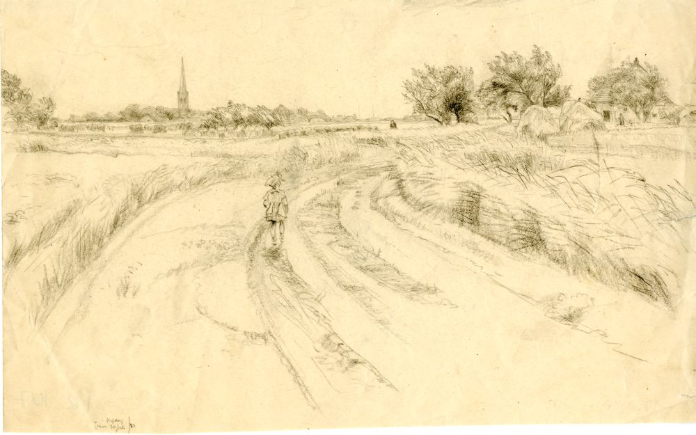 Tekening met potlood van een landweg bij Tzum door Sjoerd Kuperus