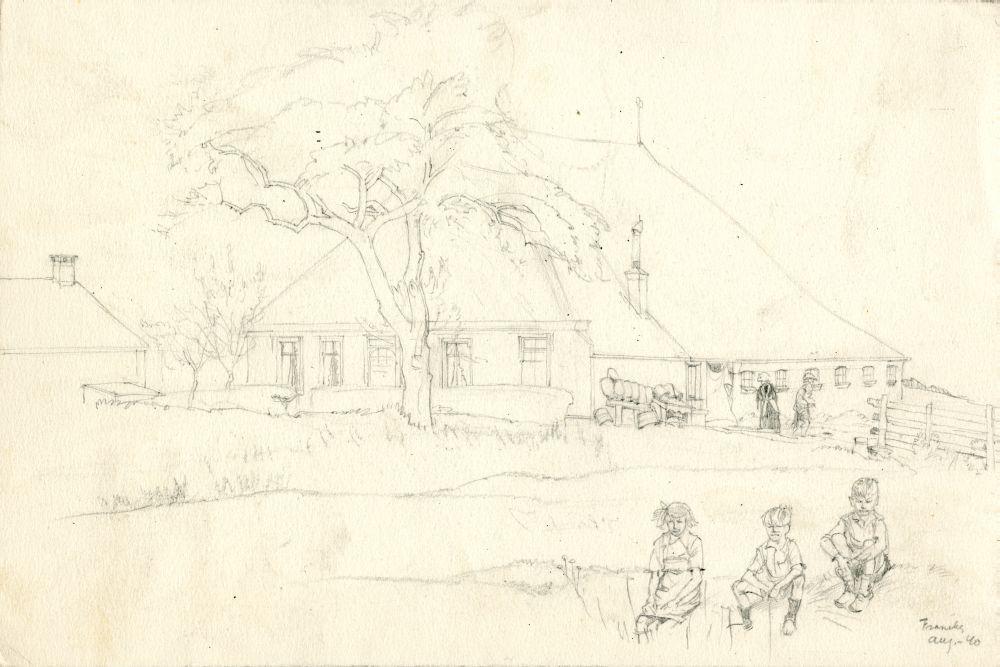 Tekening met potlood van een boerderij bij Franeker door Sjoerd Kuperus