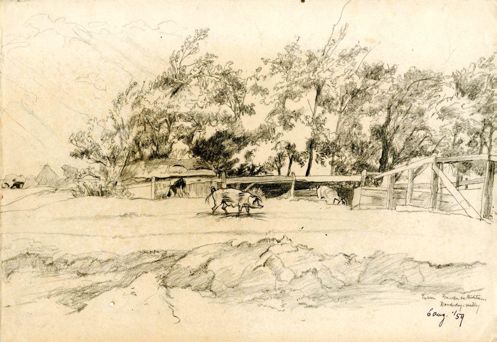 Dubbelzijde tekening met potlood van een landschap met varkens tussen Franeker en Hichtum en een landschap met drie oude bomen door Sjoerd Kuperus