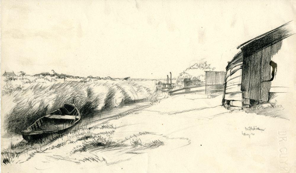 Tekening met potlood van een landschap bij Oosterbierum door Sjoerd Kuperus
