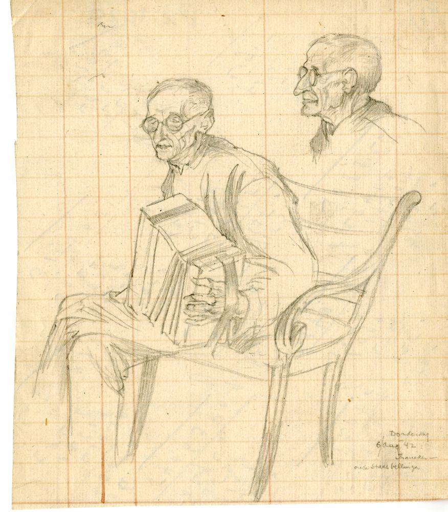 Tekening met potlood van een oude man met accordeon in Franeker door Sjoerd Kuperus