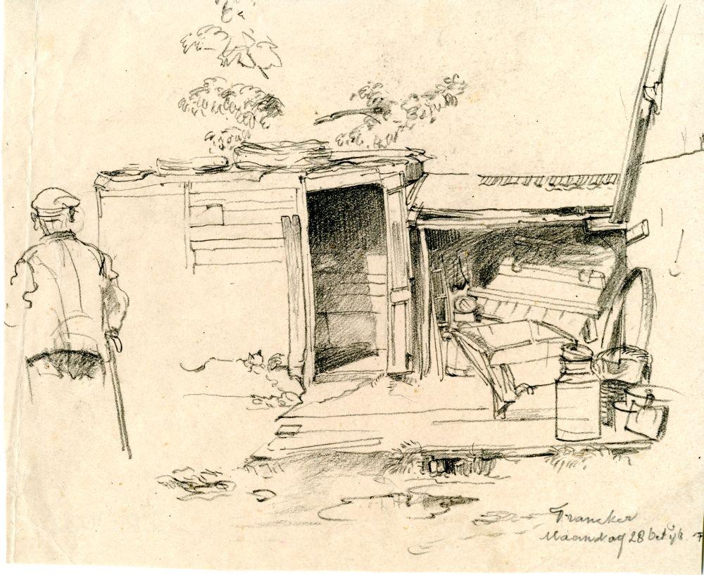 Tekening met potlood van een schuurtje in Franeker door Sjoerd Kuperus