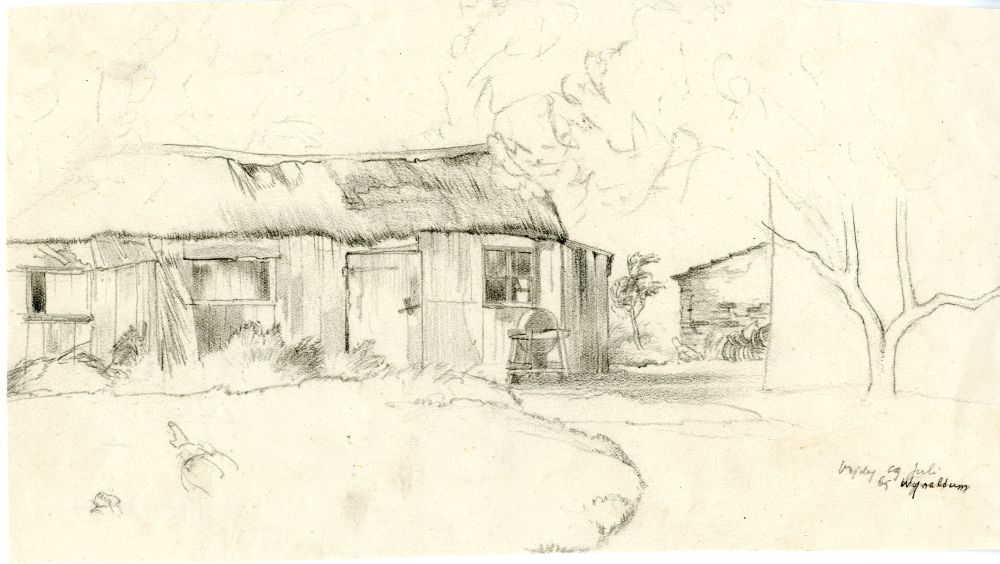Tekening met potlood van een stal bij Wijnaldum door Sjoerd Kuperus