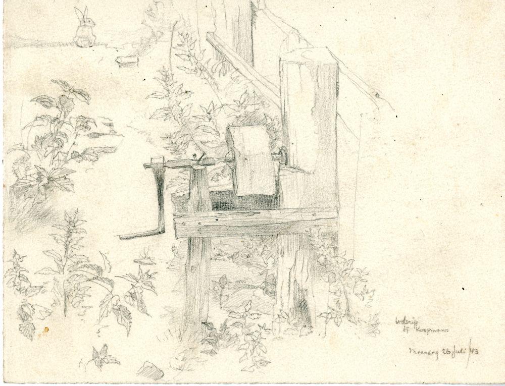 Tekening met potlood van een slijpsteen op een erf bij Koopmans in Welsrijp door Sjoerd Kuperus