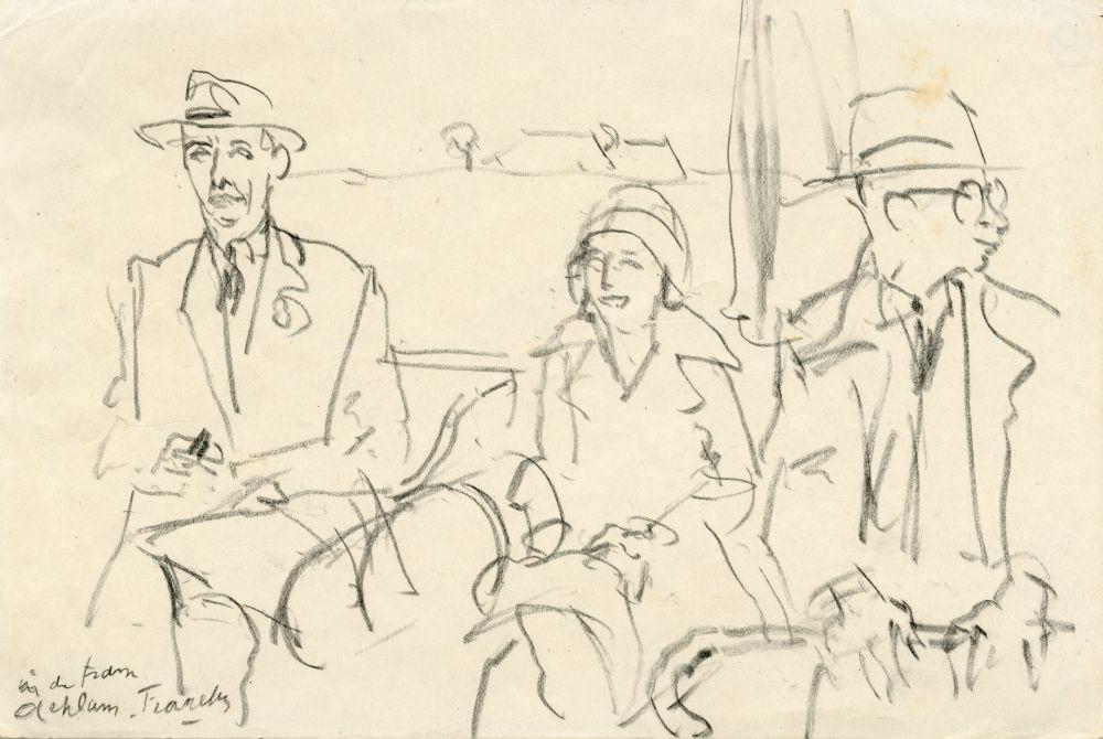 Tekening met potlood van twee mannen en een vrouw in de tram tussen Achlum en Franeker door Sjoerd Kuperus