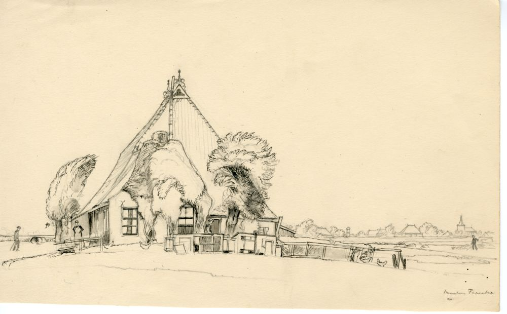 Tekening met potlood en inkt van een boerderij in de omgeving van Franeker door Sjoerd Kuperus