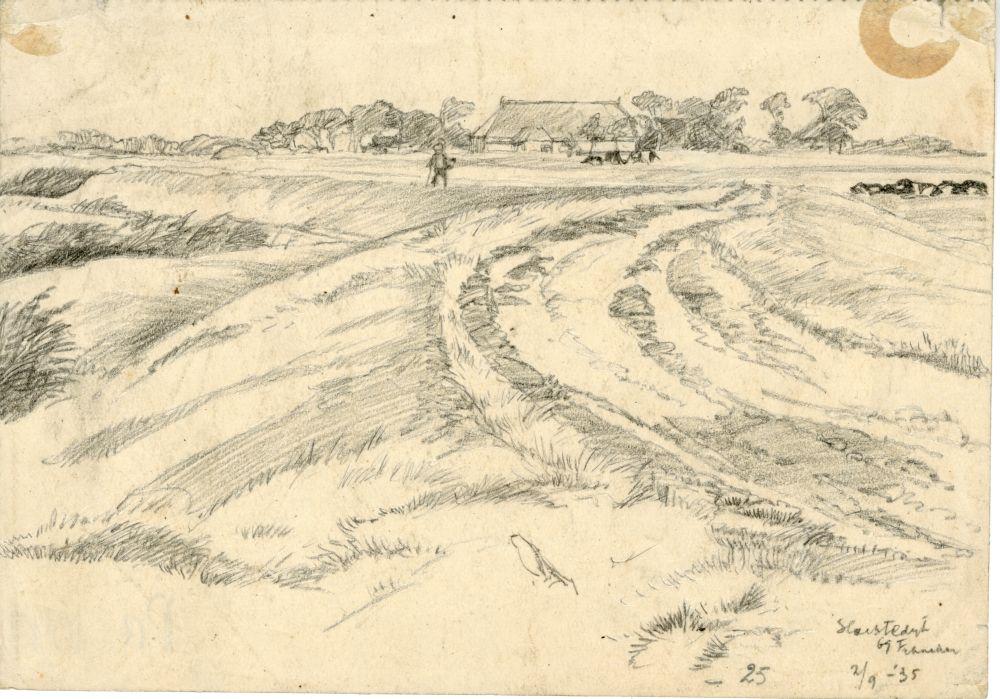Tekening met potlood van de Slachtedijk bij Franeker door Sjoerd Kuperus