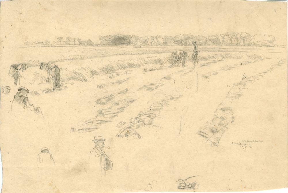 Tekening met potlood van vlastrekkers bij Schalsum door Sjoerd Kuperus