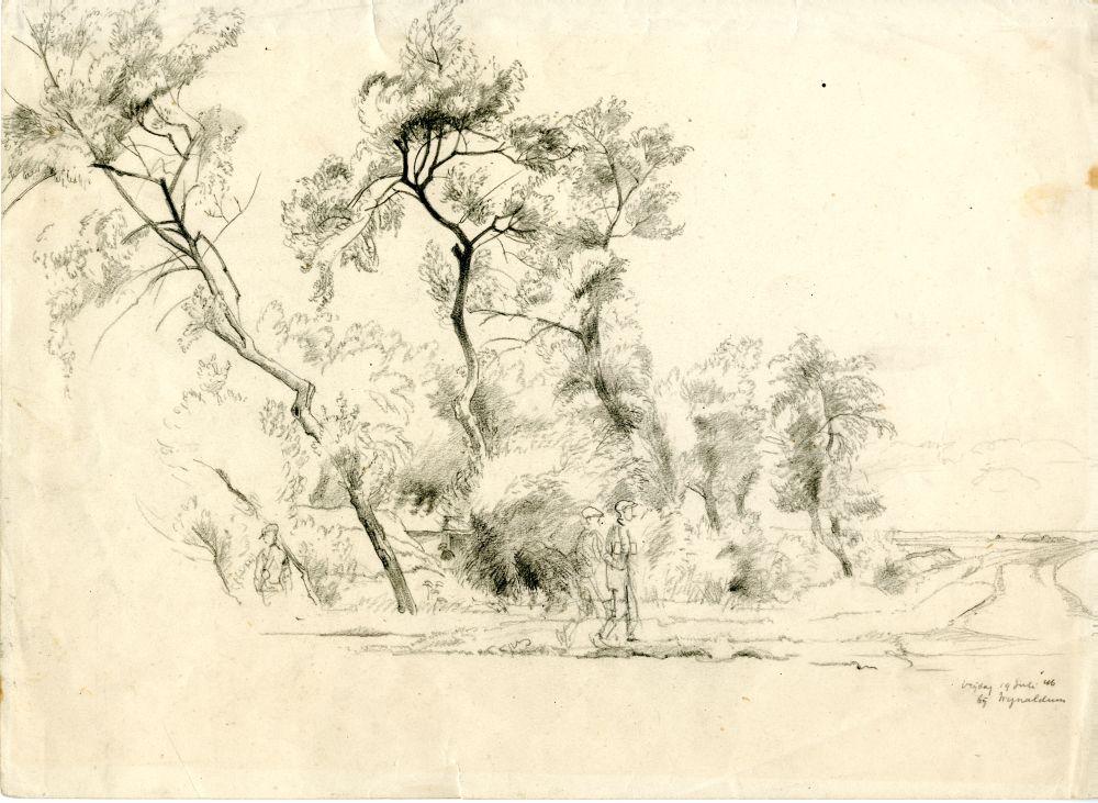 Tekening met potlood van een landschap met bomen bij Wijnaldum door Sjoerd Kuperus
