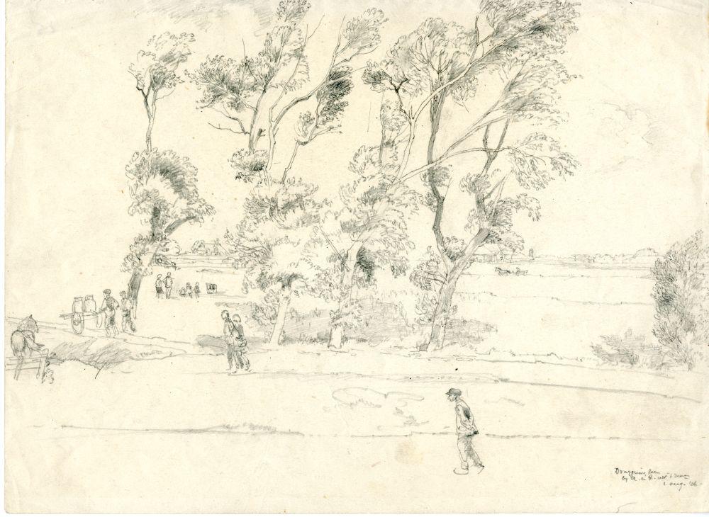 Tekening met potlood van een landschap aan de Dongjumerlaan door Sjoerd Kuperus