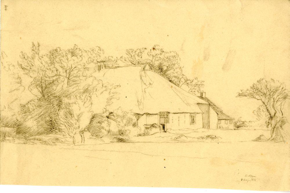 Tekening met potlood van een boerderij in Hitzum door Sjoerd Kuperus