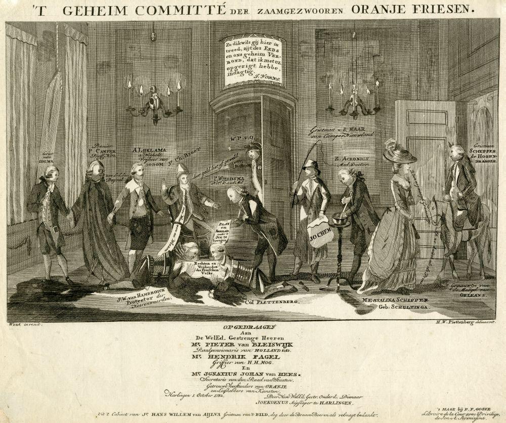 Ets van een patriottistische spotprent op prinsgezinde Friezen getiteld ' 't Geheim committté der zaamgezwooren Oranje Friesen.'