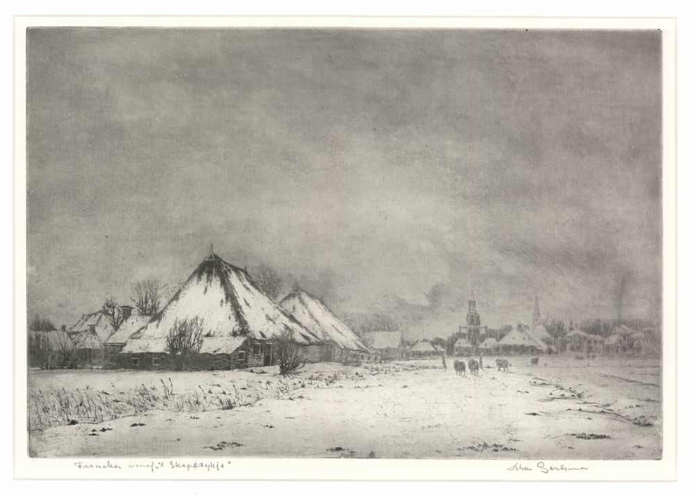 Ets van een winters stadsgezicht van Franeker vanaf het Schapendijkje door Abe Gerlsma