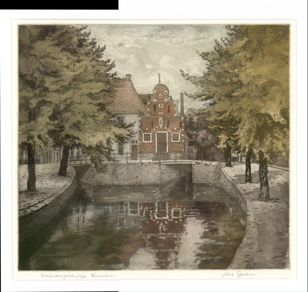 Ets in kleur van het Korendragershuisje in Franeker door Abe Gerlsma