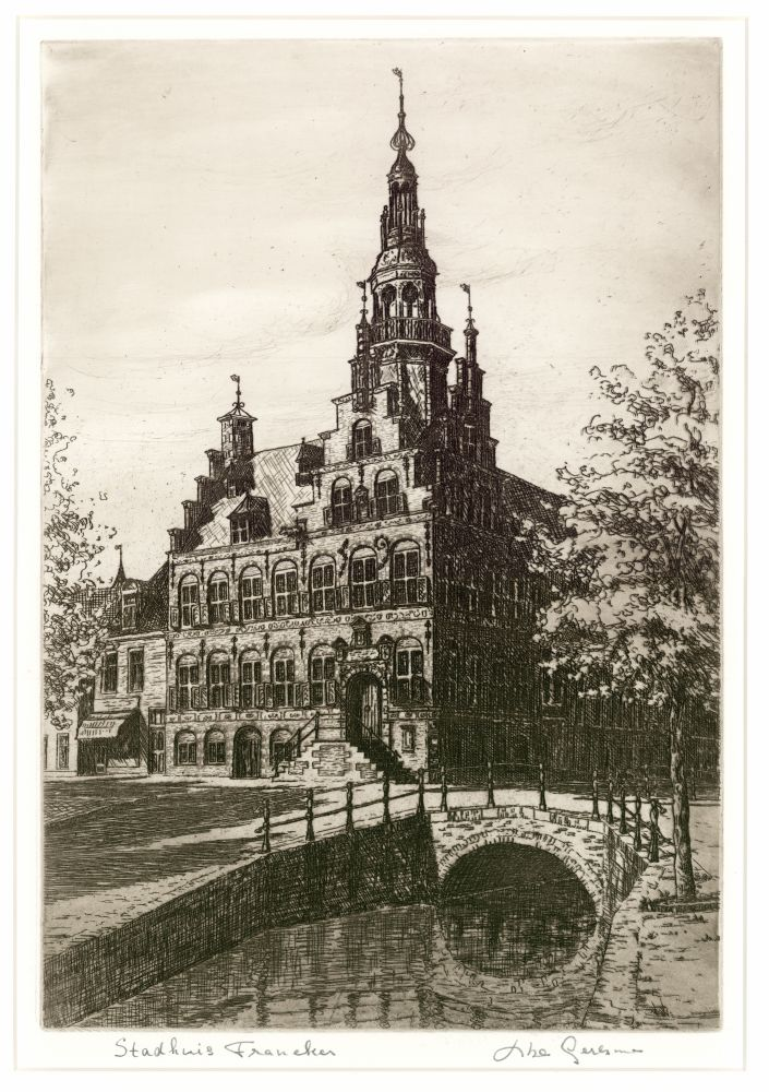 Ets van het Raadhuis in Franeker door Abe Gerlsma