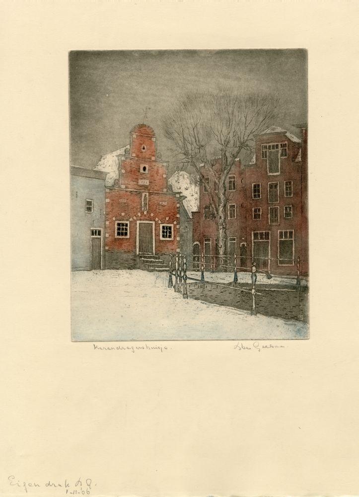 Lithografie in kleur van het Korendragershuisje in Franeker in de winter door Abe Gerlsma