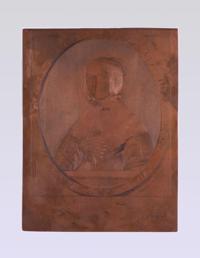 Koperplaat met gegraveerd zelfportret van Anna Maria van Schurman