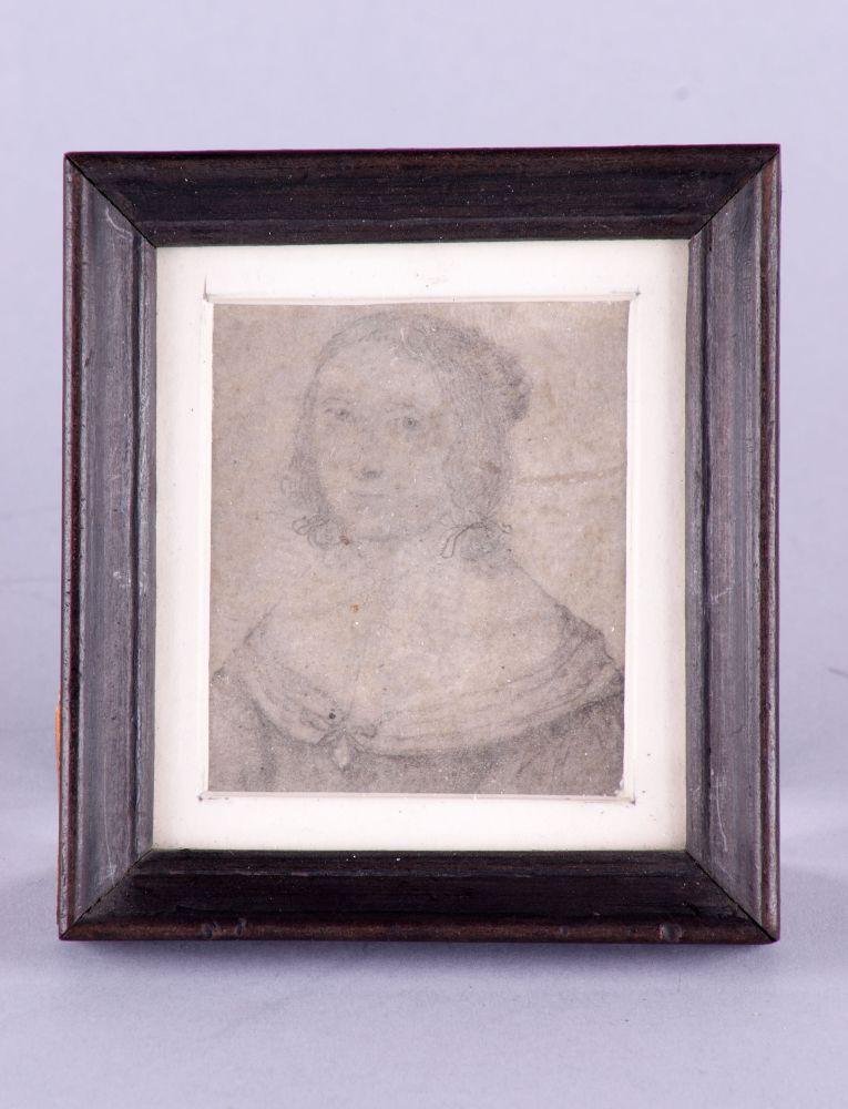 Zelfportret van Anna Maria van Schurman in potlood