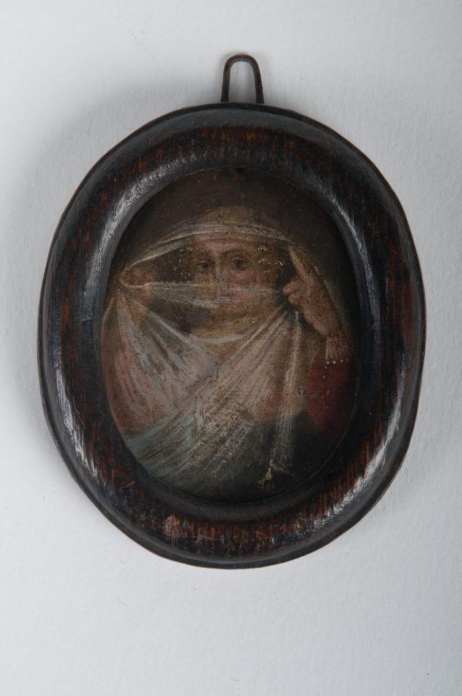 Zelfportret in olieverf van Anna Maria van Schurman als pudicitia