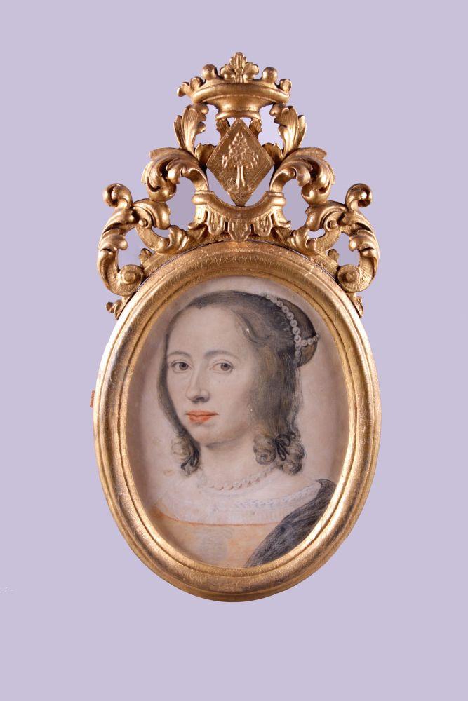 Zelfportret in pastelkrijt van Anna Maria van Schurman