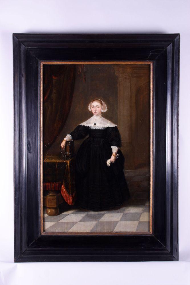 Portret in olieverf van een vrouw