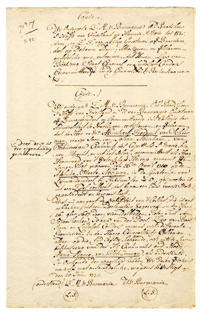 Verklaring van adeldom van Abraham Frederik van Schurman