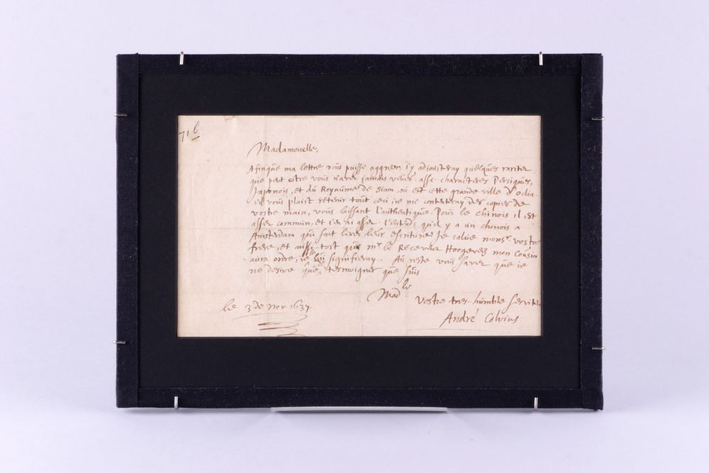 Brief van Andreas Colvius aan Anna Maria van Schurman