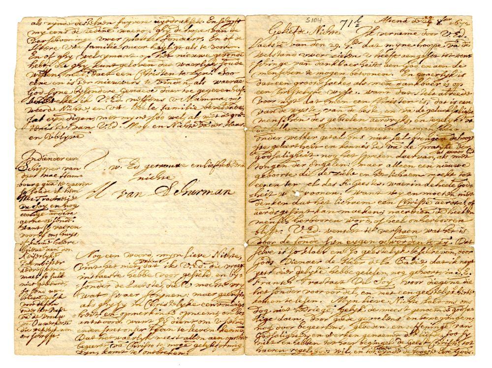 Brief van Anna Maria van Schurman vanuit Altona