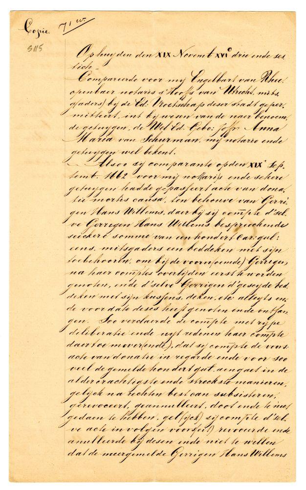 Kopie van intrekking legaat van Anna Maria van Schurman