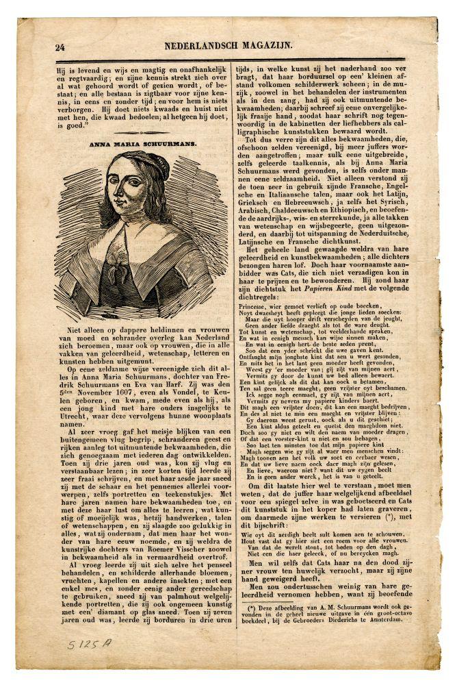 Portret in houtsnede van Anna Maria van Schurman