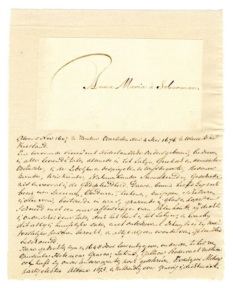 Handtekening van Anna Maria van Schurman