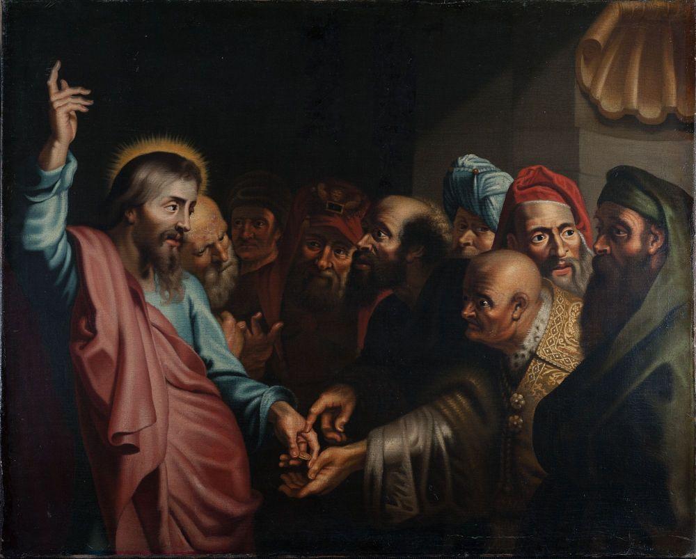 Schilderij voorstellende Christus en de Cijnspenning door Lambert Jacobs